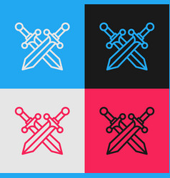 Color line crossed medieval sword icon isolated on vector