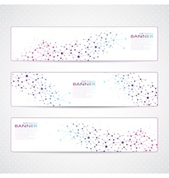 Colorful Collection horizontal banners Molecule vector
