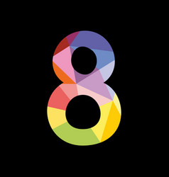 colorful number 8 isolated on black background vector image