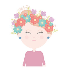 cute little girl with floral crown in hair vector image