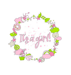 cute pink greeting card with newborn girl cartoon vector image