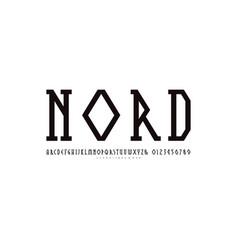 Decorative geometric narrow slab serif font vector