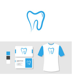 Dental logo design with business card and t shirt vector