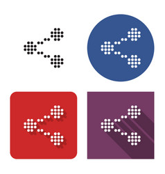 dotted icon share sign in four variants with vector image
