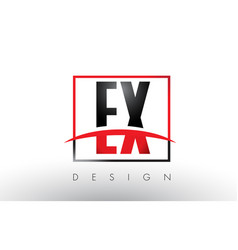 Ex e x logo letters with red and black colors and vector