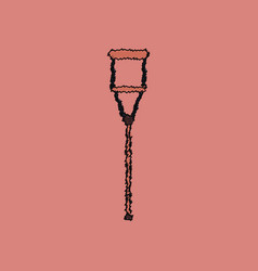Flat shading style icon crutch vector