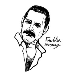 Freddie mercury cartoon vector