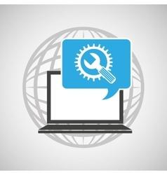 globe computer tool gear communication vector image