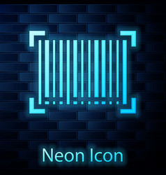 Glowing neon barcode icon isolated on brick wall vector