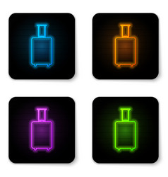 glowing neon travel suitcase icon isolated on vector image