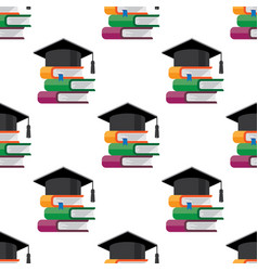 graduation cap with books vector image