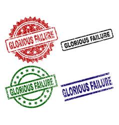 Grunge textured glorious failure stamp seals vector