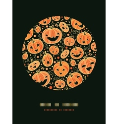 Halloween pumpkins circle decor pattern background vector image
