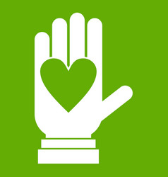 hand with heart icon green vector image