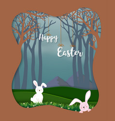 happy easter with cute rabbits in the forest vector image