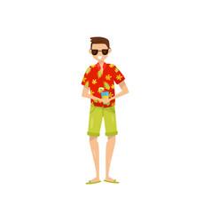 Happy young man in sunglasses and hawaiian aloha vector