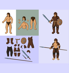 Human with set of leather armour vector