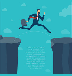 jumping over the ravine vector image