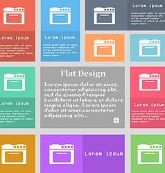 kitchen stove icon sign Set of multicolored vector image