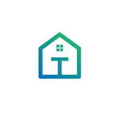 Letter t architect home construction creative vector