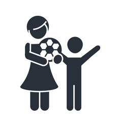 Little daughter with soccer ball and boy family vector