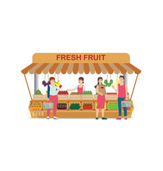 local farm market fruit shop with fruit seller vector image