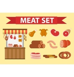 Meat and sausages icon set flat style vector image