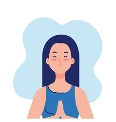 Meditating woman on white background vector
