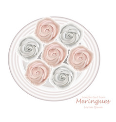 Meringues plate sweet dessert top view vector