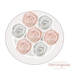 meringues plate sweet dessert top view vector image