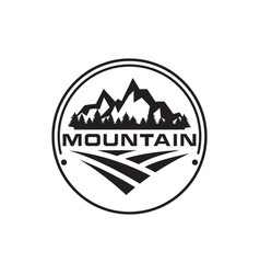 mountain trees house and field logo design vector image