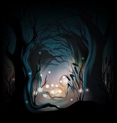 mysterious forest background vector image