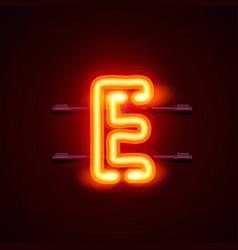 Neon font letter e art design singboard vector