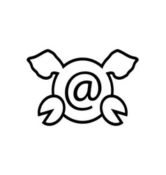 new pig mail line icon year 2019 and of the pig vector image