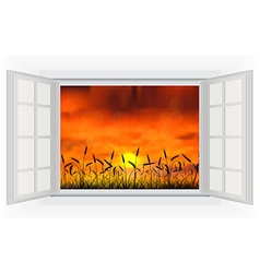 Open windows of sunset in the reed on the nature vector