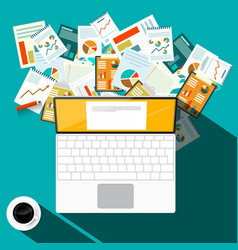 paperwork design with laptop computer and coffee vector image
