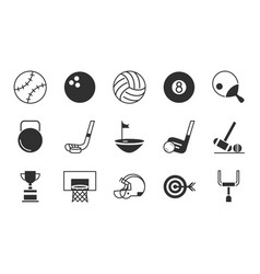 pictograph sport equipment related icons set vector image