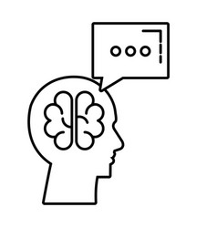 profile with brain storming and speech bubble vector image