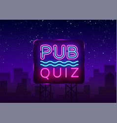Pub quiz night announcement poster design vector