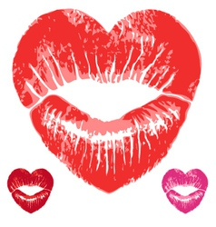 Red heart lips set vector