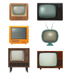 retro tv household items 80s style realistic vector image