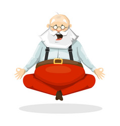 santa claus yogi sitting in yoga posture vector image