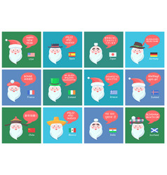 Santa clauses from different countries banners vector