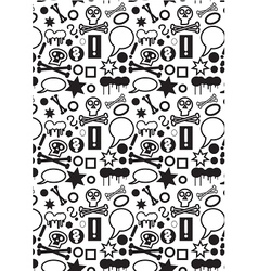 Seamless icons pattern BW vector image