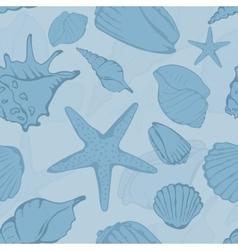 seamless pattern hand drawn seashells vector image