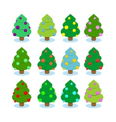 Set Christmas tree Multicolored ornaments on tree vector image