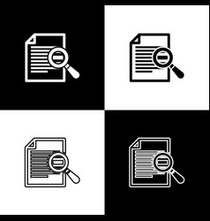 Set document with search icons isolated on black vector