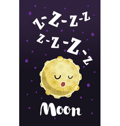 set four night cards with cute cartoon vector image