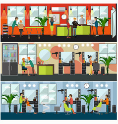 set of barbershop and tattoo studio flat vector image