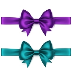 Set of Purple Satin Bows and Ribbons on Background vector